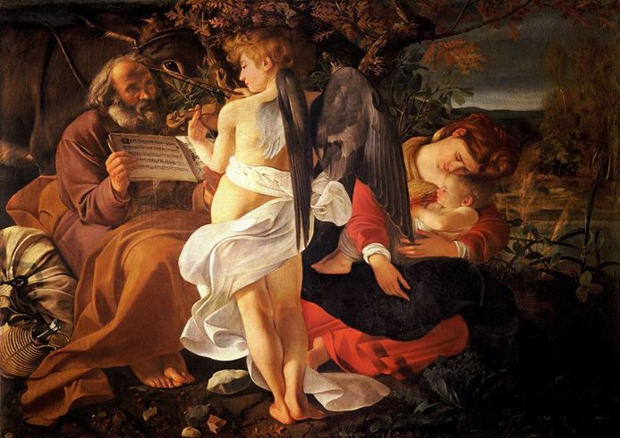 Caravaggio, Michelangelo Merisi da: Rest on the Flight into Egypt. Fine Art Print/Poster. Sizes: A4/A3/A2/A1 (002091)